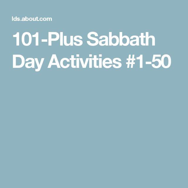 101-Plus Sabbath Day Activities #1-50