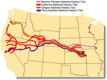Image map of the Oregon, California, Mormon Pioneer, & Pony Express national historic trails across the United States.