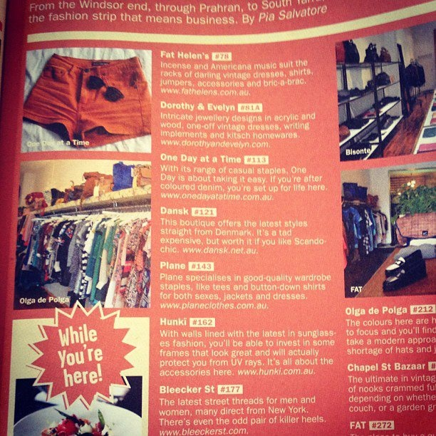 Time Out Melbourne November 2012 featuring Dansk in Chapel St. Shopping Guide