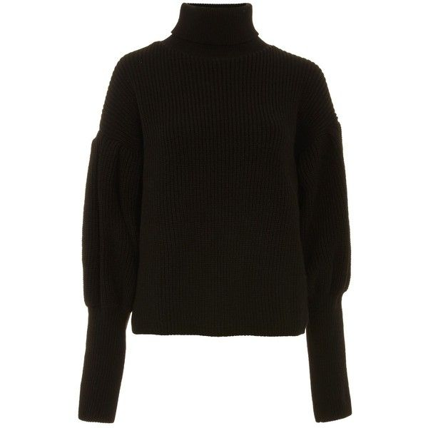 TopShop Black Balloon Sleeve Roll Neck Jumper ($75) ❤ liked on Polyvore featuring tops, sweaters, black, roll neck sweater, jumpers sweaters, roll neck jumper, balloon sleeve tops and roll neck top