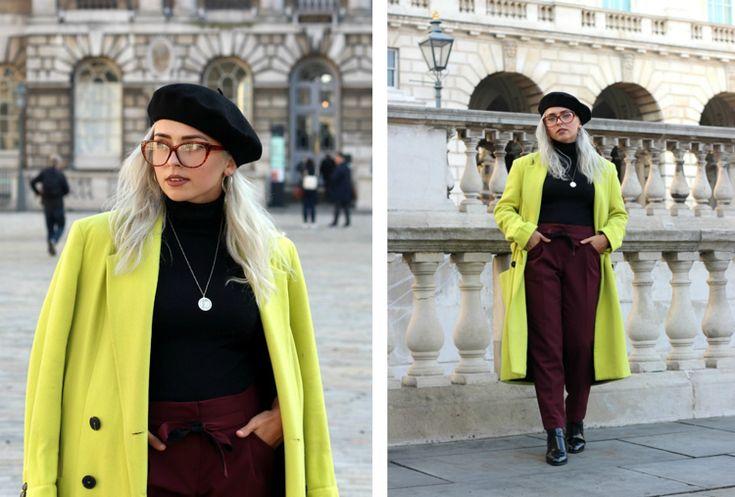 barett mütze stylen look farbe schwraz mantel neon  #fashion #style