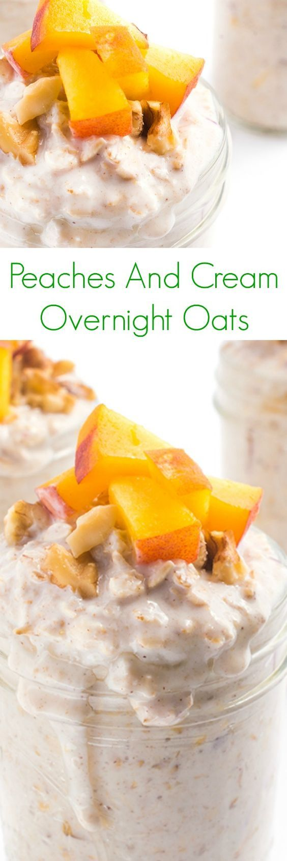 Peaches And Cream Overnight Oats - An easy, portable, make-ahead breakfast recipe, your family will love these thick and creamy Peaches and Cream Overnight Refrigerator Oats.