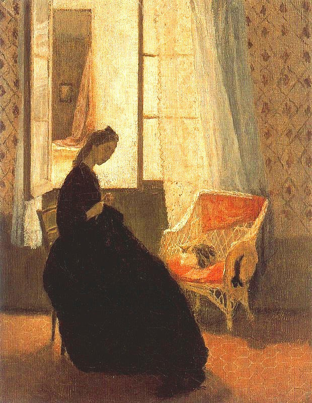 Interior with Woman and Cat | Gwen John 1876-1939 Gwendolen Mary John was a Welsh artist who worked in France for most of her career. She is noted for her still lifes and for her portraits, especially of anonymous female sitters. John was an artist's model for the sculptor Auguste Rodin.