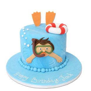 A delicious creative cake designed in a swimming theme. There are basic personalised characteristics allowed with the small child swimming.