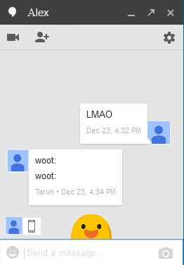 """Google Hangout: There are some fun tricks hidden inside your Google Hangout. Try typing """"LMAO,"""" """"happy birthday,"""" or """"woot"""" in your hangout chat and you will see some fun tricks on your chat screen. So Enjoy these fun tricks by Google with your friends..!!"""