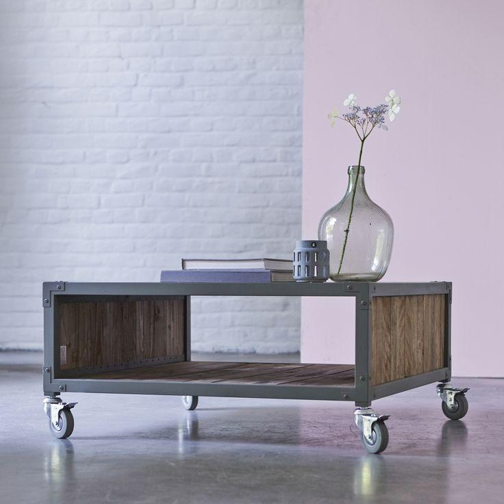 Table basse en bois recyclés et métal 80 atelier kaki
