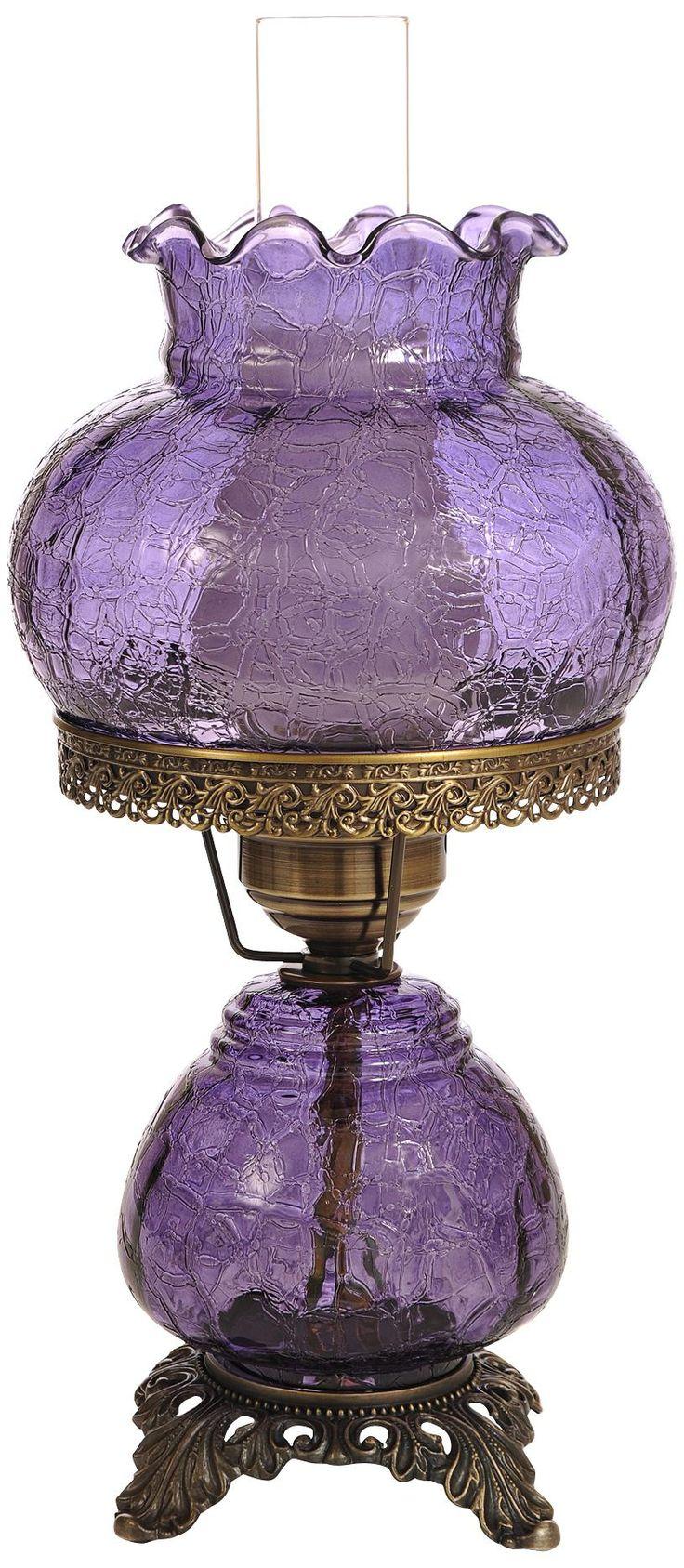Violet Crackle Night Light Hurricane Table Lamp -