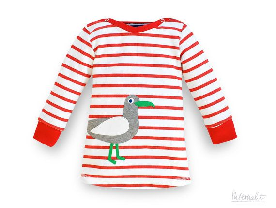 red white striped organic baby girl dress with appliqué sea gull made of 100% organic cotton by internaht, €35.00
