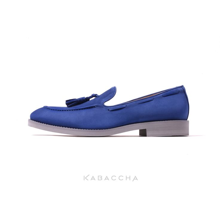 Kabaccha Shoes // Royal Blue Nubuk Suede & Grey Sole Loafer #KabacchaShoes #Loafers