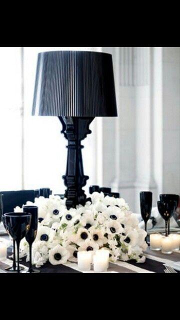 Centrotavola wedding black white