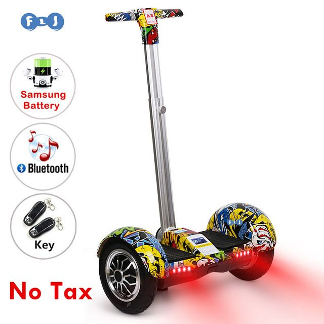 FLJ 10inch Hoverboard Electric Scooter self Balancing scooter Smart two wheel skateboard With Handle Bluetooth Speaker //Price: $311.29//     #Gadget