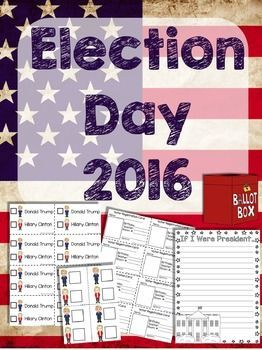 Election Day 2016 FREEBIE -kid friendly ballots, voter registration cards, I Voted Badges and writing prompts