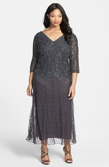 Pisarro Nights Beaded V-Neck Lace Illusion Gown (Plus Size) available at #Nordstrom