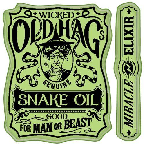Snake oil label cling stamps inkadinkado elixer for Halloween medicine bottles