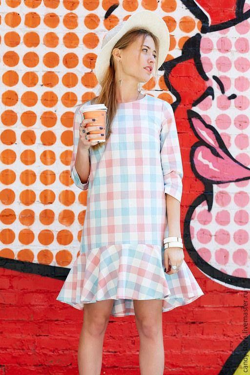 Купить или заказать Платье в клетку в интернет-магазине на Ярмарке Мастеров. Платье в клетку свободного фасона с игривым воланом. Отлично подойдет для летних прогулок, вечеринки или свидания. Хлопок 100% Доступно для заказа в…