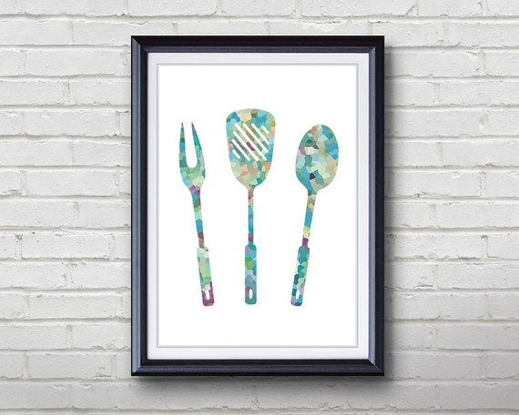 Grill Utensils Print  Home Living  Kitchenware by Thing3Art