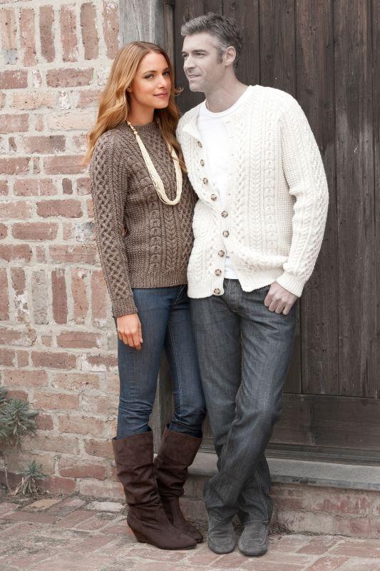 Sweter zrobiony na drutach, włóczka: Schachenmayr Trachtenwolle beżowo szary.