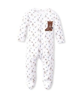 50% OFF Rumble Tumble Baby Cowboy Boot Longsleeve Coverall (White)
