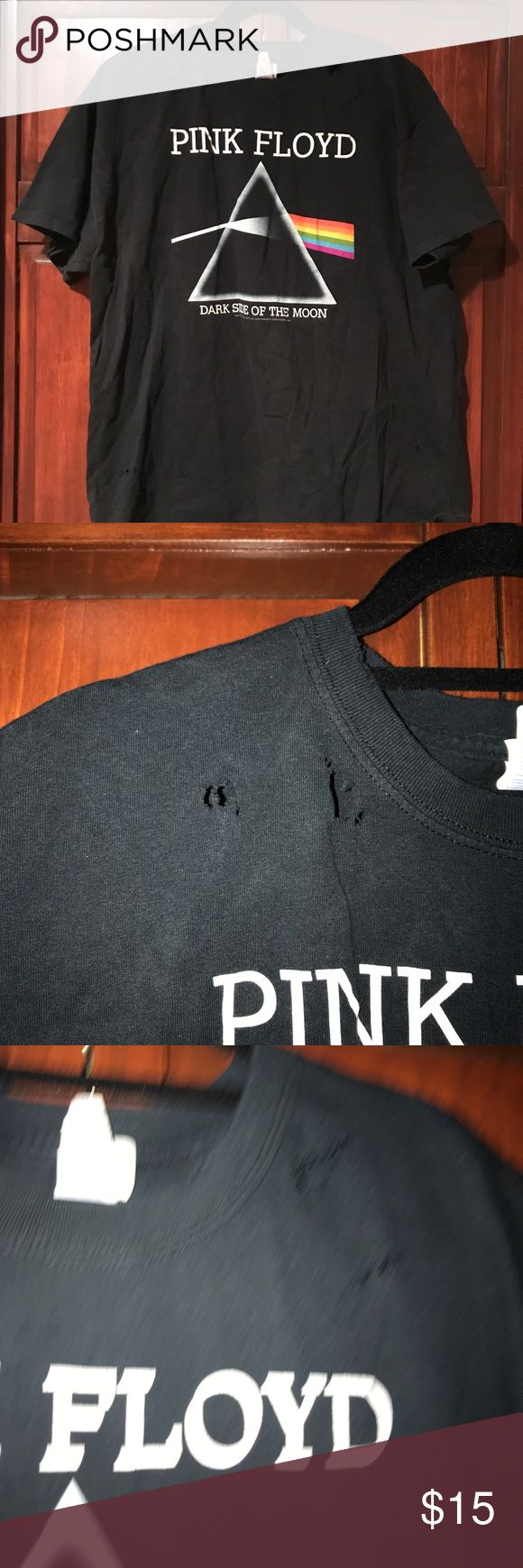Distressed Punk Floyd shirt size XL Distressed Pink Floyd shirt, replica from concert t. Holes on front and back neckline, very rad shirt! Gildan Tops Tees - Short Sleeve