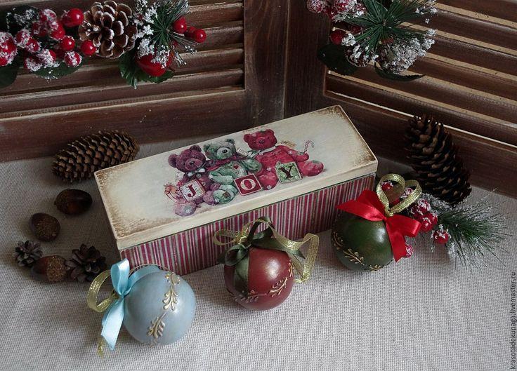"""Купить Новогодний набор """"Тедди"""", декупаж - комбинированный, елочные игрушки, елочные украшения, тедди"""