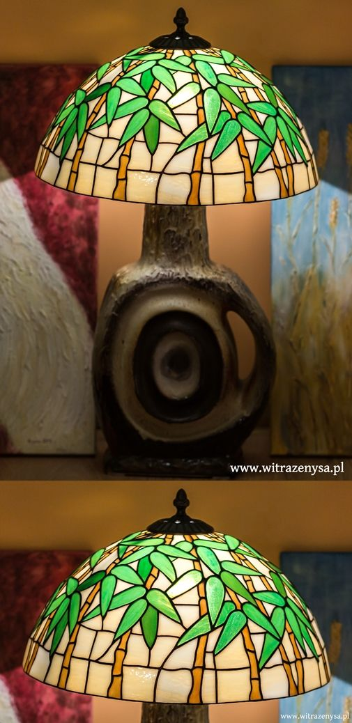 stained glass lamp, classic bamboo motif