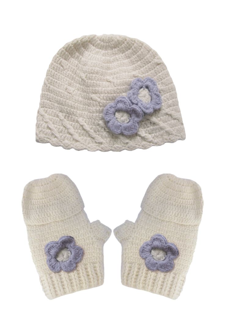 A wonderful gift for any little girl to receive. The set comprises of a hand crochet beanie hat with lavender flowers and matching mittens.