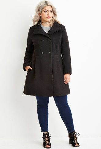 Plus Size Double-Breasted Pea Coat | Forever 21 PLUS - 2000141372