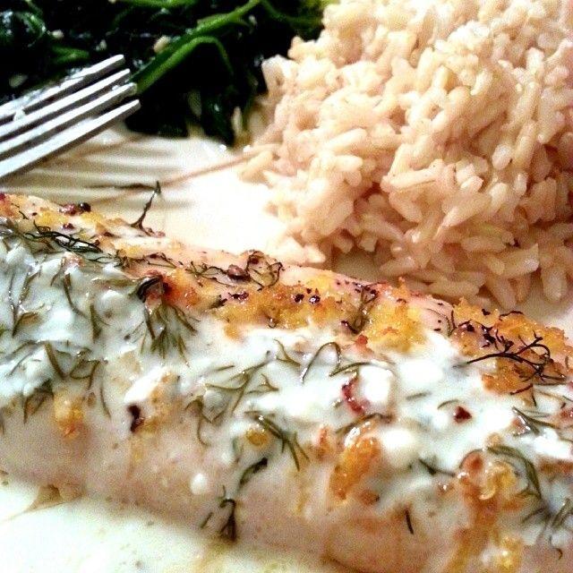 Skinny Baked Lemon Dill Mahi Mahi :: Recipe