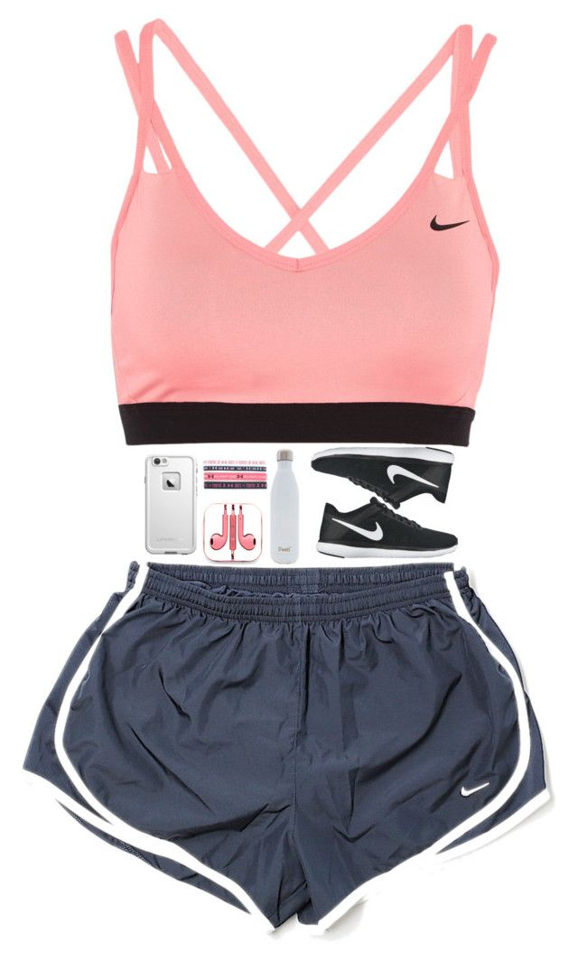 """just ran for 30 mins then lifted weights for 30 more❤"" by nc-preppy-living ❤ liked on Polyvore featuring NIKE, LifeProof, PhunkeeTree, S'well and Under Armour"