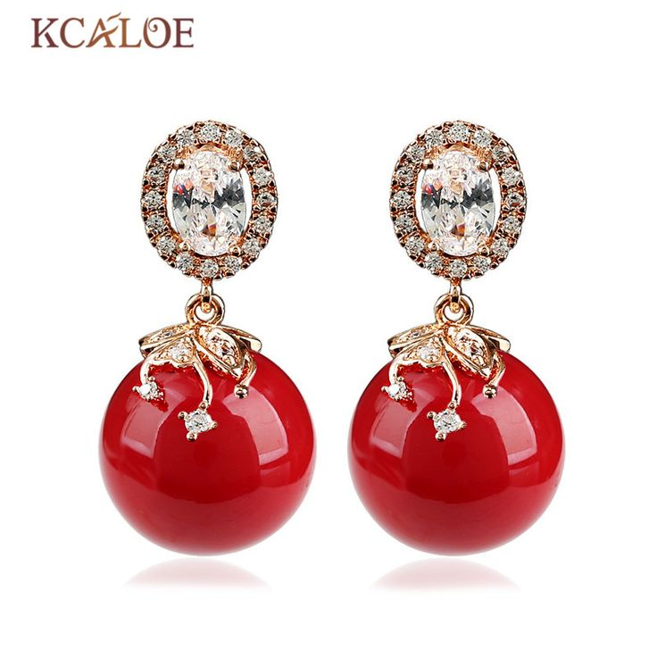 KCALOE Big Earring Fashion Red Coral Round Ball Design Rose Gold Plated Luxury Cubic Zirconia Crystal Women Earrings Pendientes