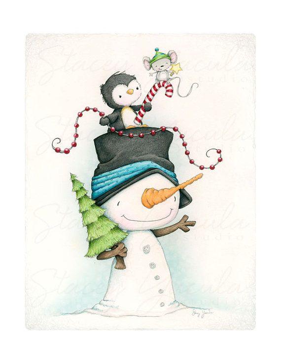 lámina Navidad invierno amigos de muñeco de por staceyyacula