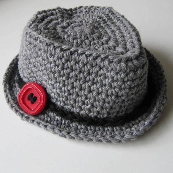 """Newborn Gray Fedora Hat, Newborn Baby Boy Hat, Crochet Baby Hat, Newborn Photo Prop, Newborn Photography, """"Little Man"""" on Etsy, $25.00"""