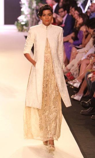 Sherwani jacket over lace sari: Manish Malhotra&#039