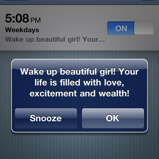 what a rad alarm!Good Ideas, Mantra Quotes, Ears Mornings, Mornings Messages, Alarm Clocks, Mornings Mantra, Bathroom Decor, Great Day Quotes, Alarm Messages