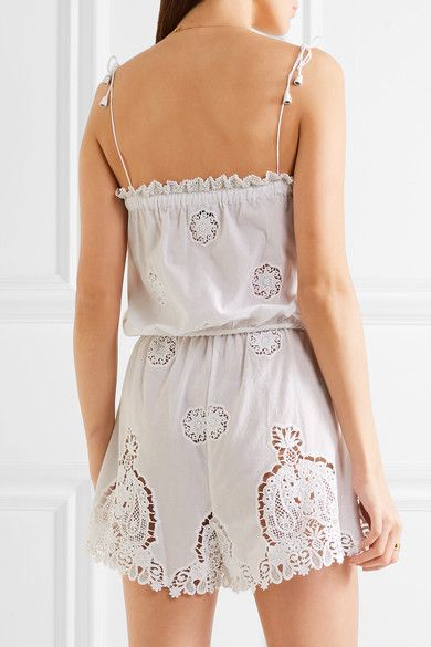 Miguelina - Peggy Cotton And Lace Playsuit - White