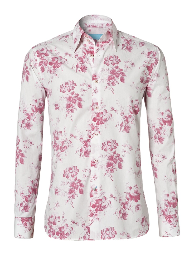 This is a beautiful and cheerful shirt. It is a white shirt with bright flowers on it, especially for the summer.  This shirt costs now € 109.05