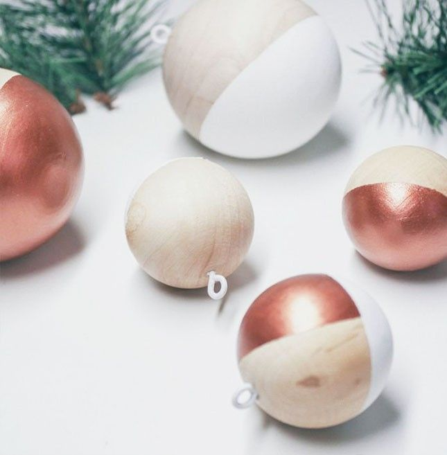 Make these metallic wood ornaments to keep your tree trendy.
