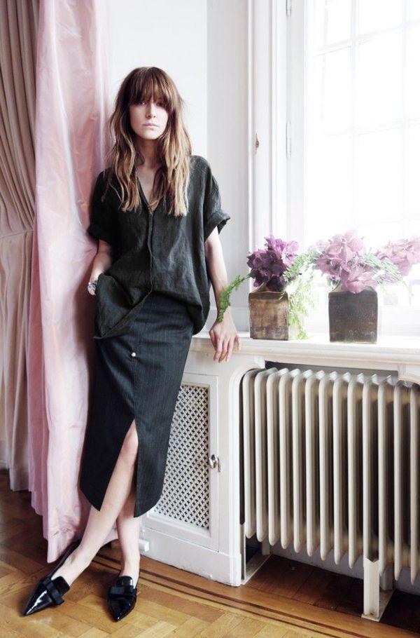黒スタイル リネン シャツ