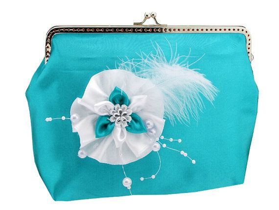 turquoise and white frame clutch bag purse lace by FashionForWomen
