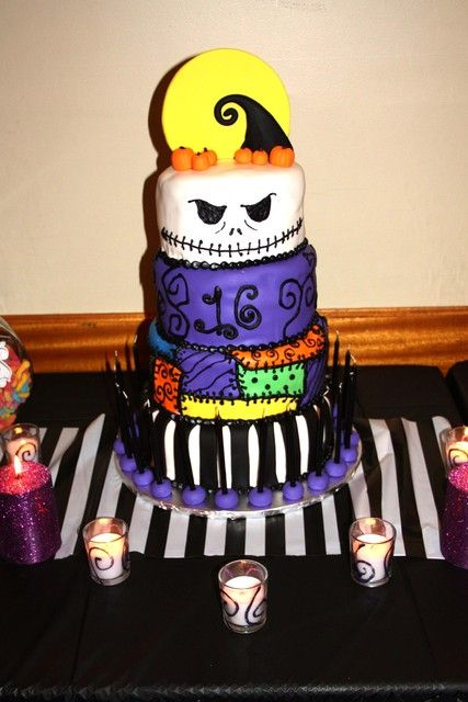What a great cake from a Nightmare Before Christmas Birthday Party!  See more party ideas at CatchMyParty.com!  #partyideas #halloween
