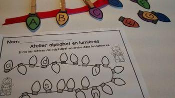 FRENCH Christmas ABC Center/ Atelier ABC (Lettres lumières de Noël)