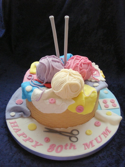 Knitting basket cake; cute for someone who likes to knit :)