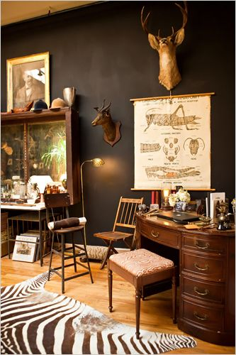 Have always wanted a study stuffed with old maps/photos, natural history sketches/speciments, and old scientific instruments! Sadly, what I don't have is the really big, pretentious house to pull it off.