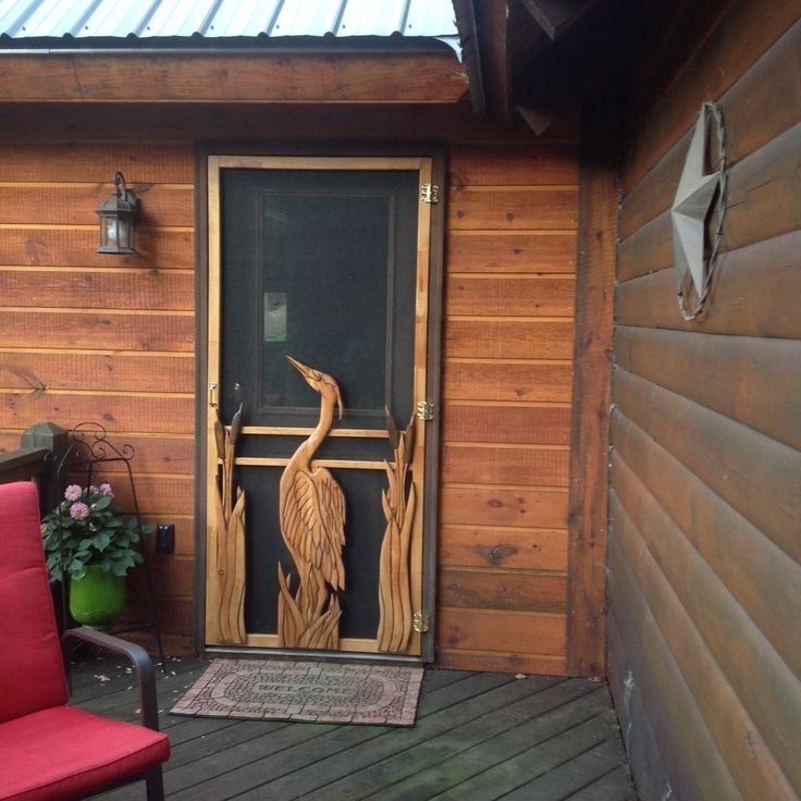 Wood Screen Doors With Hand Carved Animals Woodland