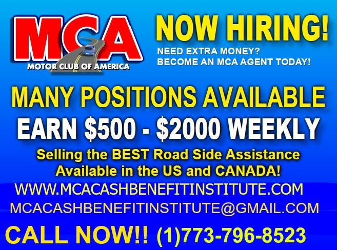 MCA IS HIRING!!! CALL THE NUMBER AND ASK FOR DON, I'LL ANSWER ANY QUESTIONS AND BE MORE THAN WILLING TO TRAIN THE RIGHT PERSON www.mcacashbenefitinstitute.com