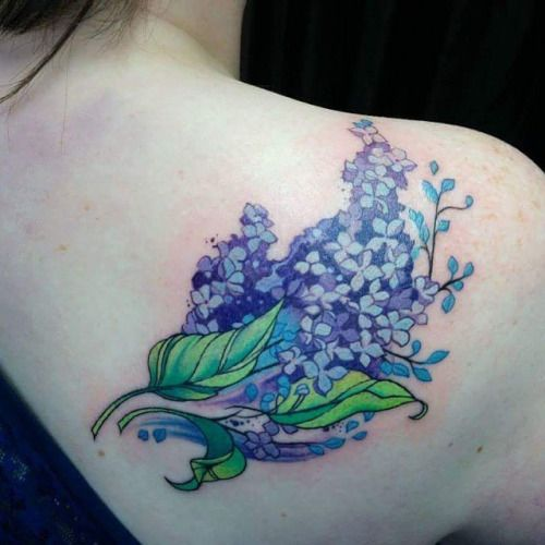 Watercolor lilacs tattoo done by Tegan. #workproud # wearproud Tattoo shared by chronicink