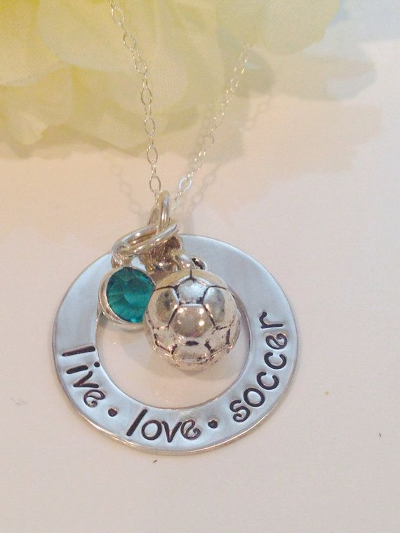 Hand Stamped personalized soccer necklace with birthstone on Etsy, $35.00