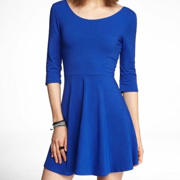 Royal Blue Skater Dress Royal Blue skater dress in size medium. Dress hits about mid knee and has 3/4 sleeves. It's made of 95% polyester and 5% spandex. Very light weight and comfortable dress. Never worn. No trades. Reasonable offers welcome. Dresses