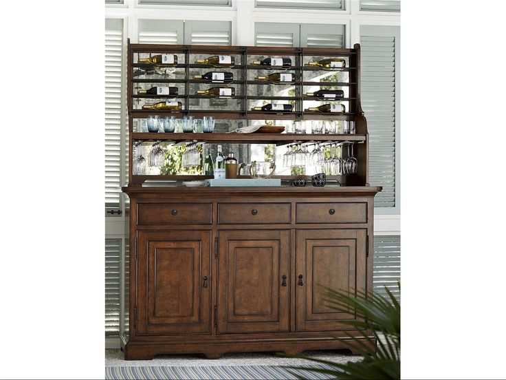 Paula Deen Dogwood Credenza With Wine On The Wall Rack By Universal