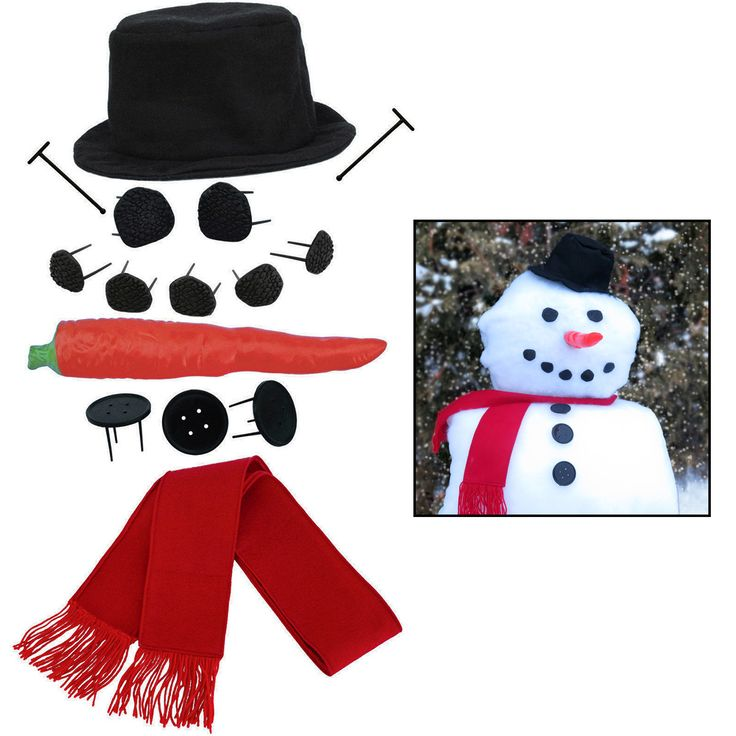 This snowman kit is extremely durable and reusable and brings your snowman to life year after year. Includes a top hat, coal-shaped eyes and mouth, carrot nose, buttons, and fringed scarf. Fun activit